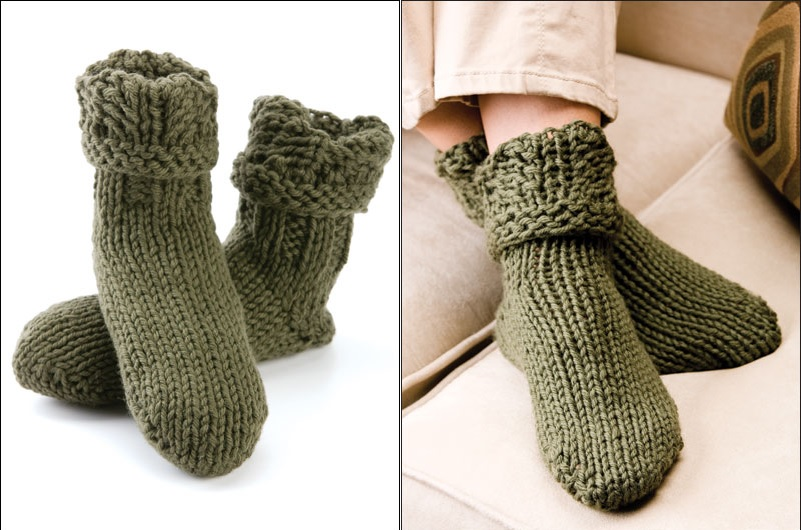 1b62c2cf5b291 15 Knitted Slipper Sock Patterns