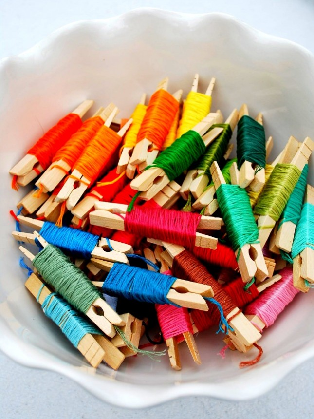Clothespin embroidery floss storage