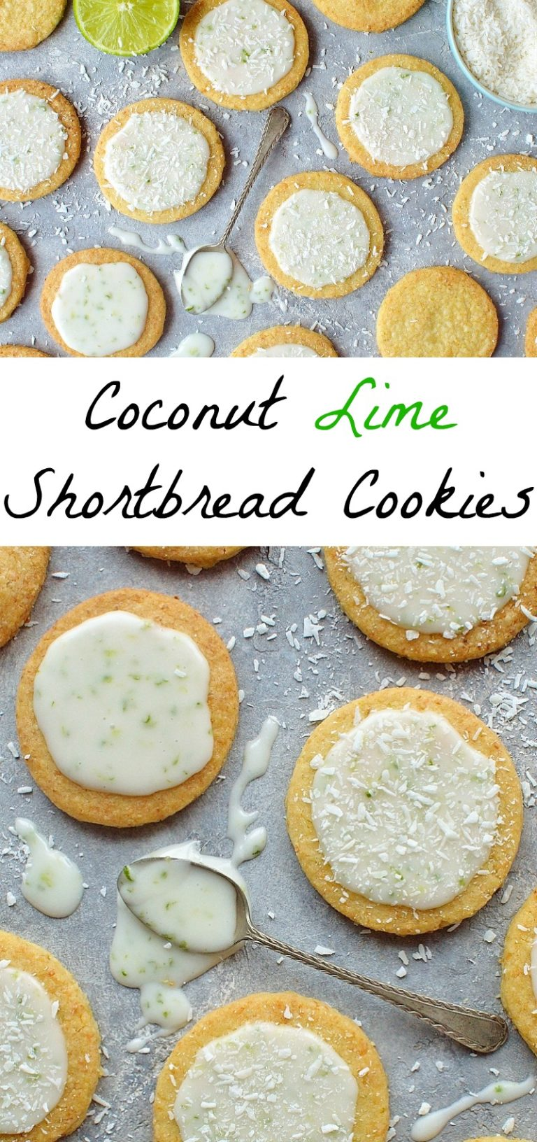Coconut lime shortbread cookies collage