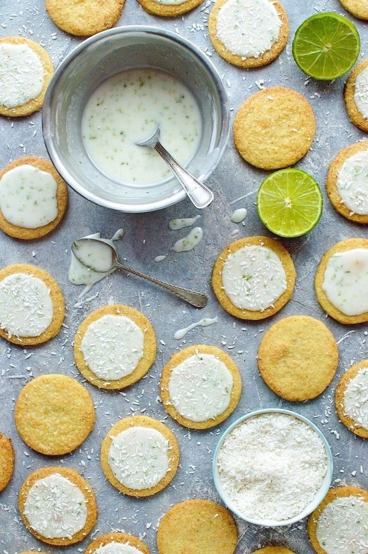 Coconut lime shortbread cookies lime