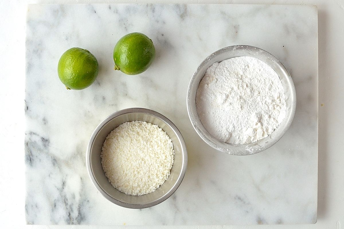 Coconut lime shortbread cookies for glaze