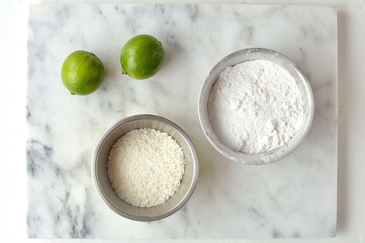 Coconut lime shortbread cookies for glaze