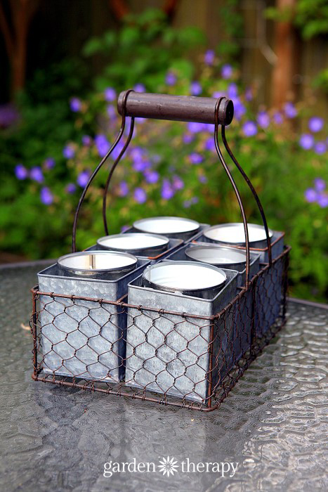 Diy citronella candles in antique milk crate
