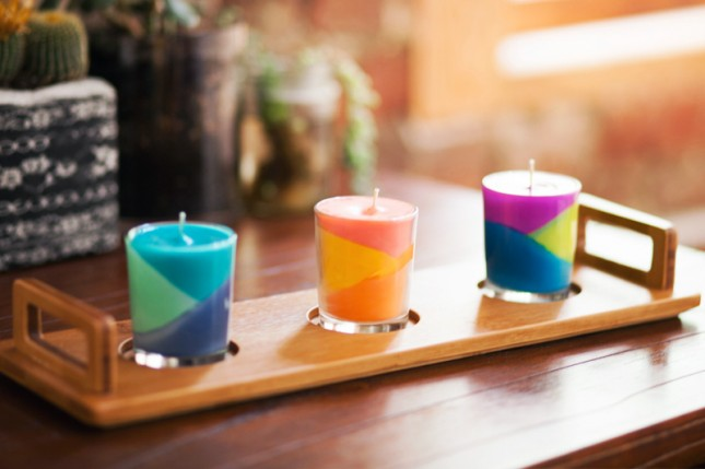 Diy colorblock candles