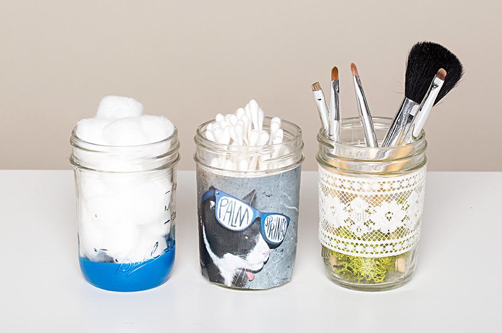 Diy embellished makeup jars