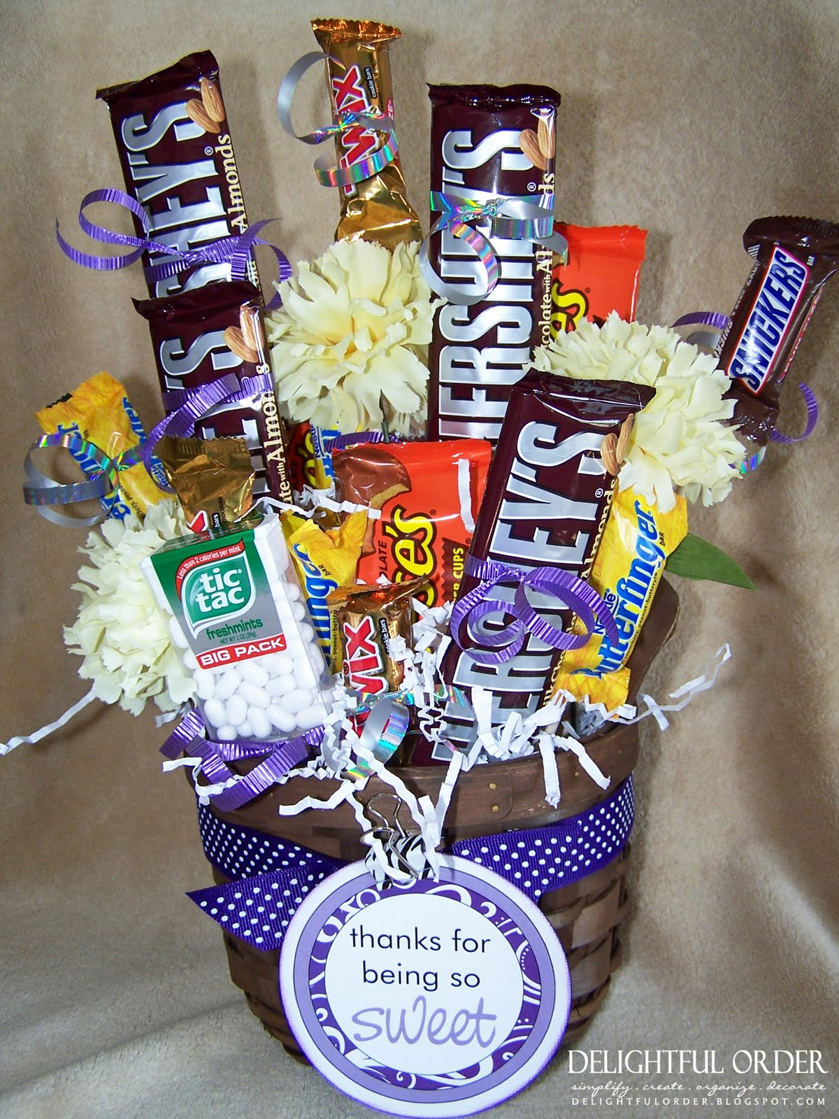 Diy candy bouquet in a basket
