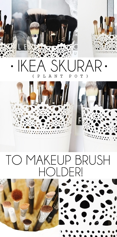 Diy makeup brush holder from plant pot