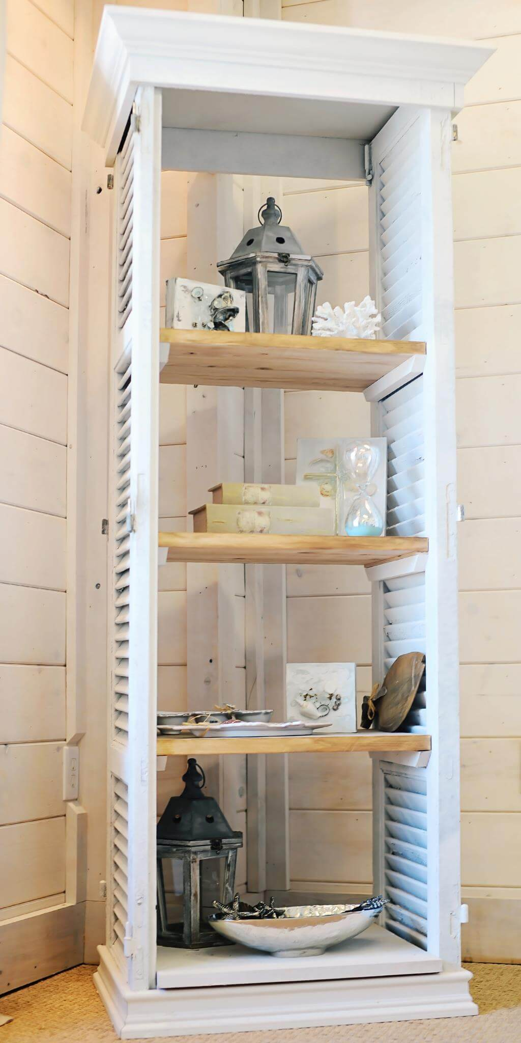 Diy shutter shelving unit