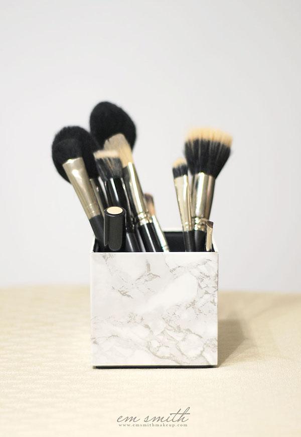 Diy marble makeup brush holder tutorial