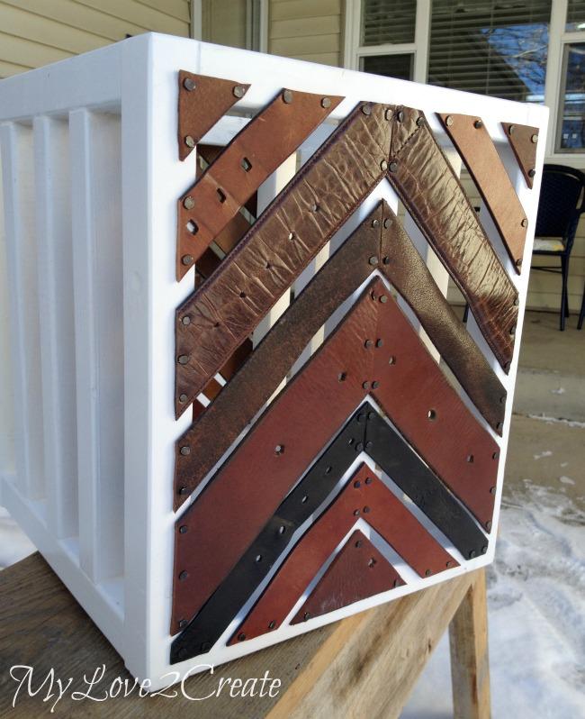 Decorative leather belt crate