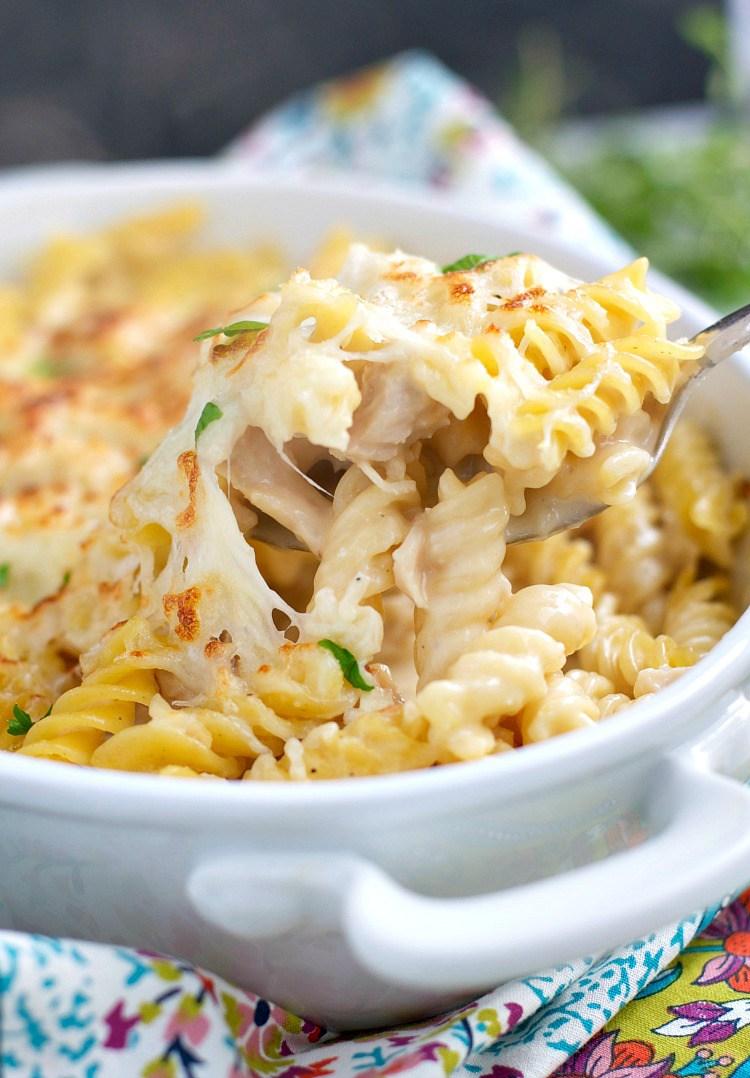 Dump and bake chicken alfredo pasta 2