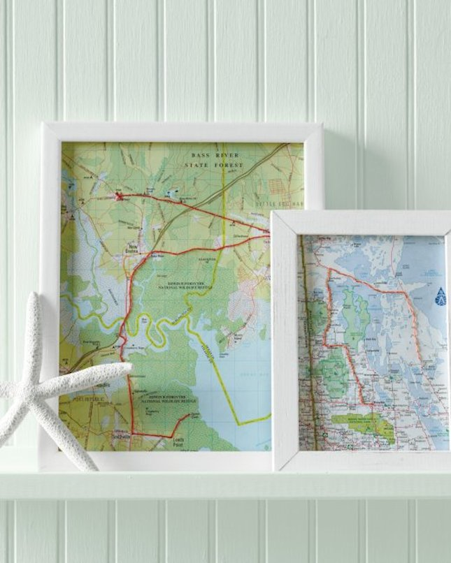 Embroidered map artwork