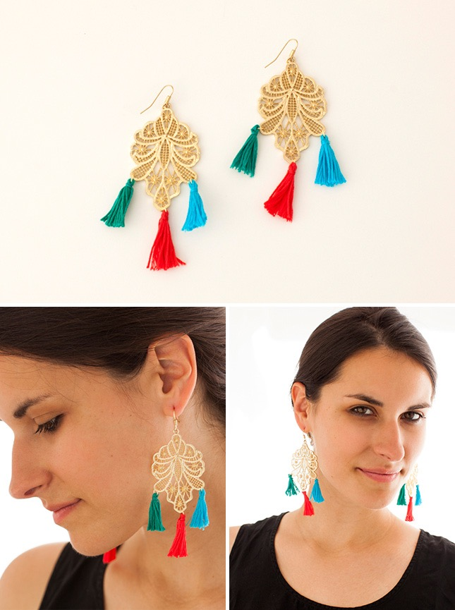 Embroidery tassel earrings