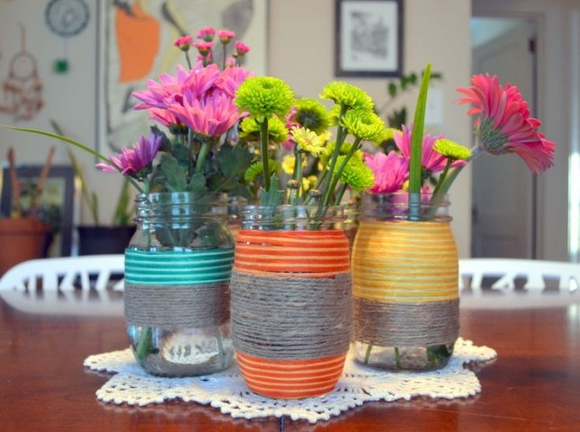 Floss and hemp wrapped flower jars
