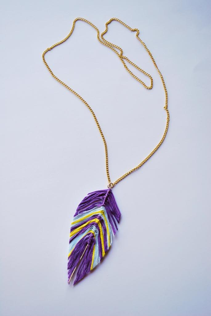 Floss feather necklace
