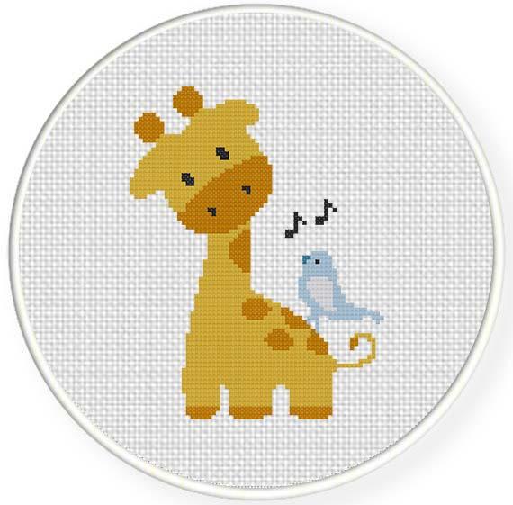 Giraffe and singing bird