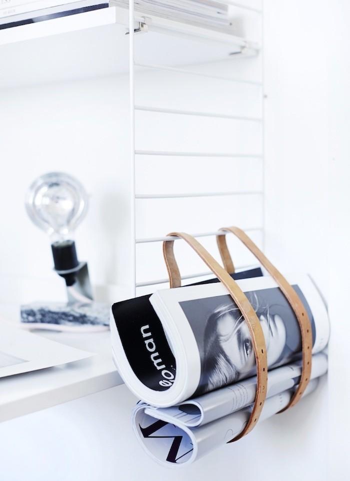 Hanging magazine belt rack