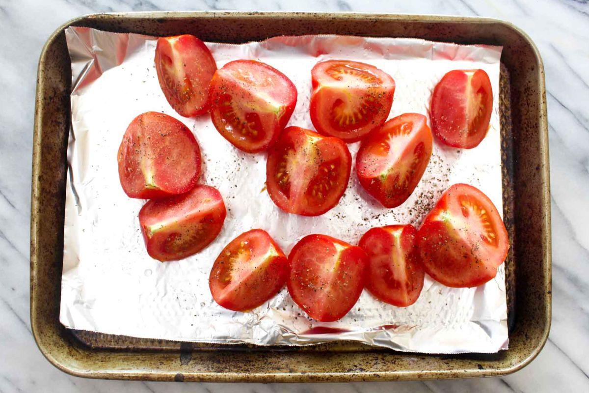 Homemade salsa roja bake tomatoes