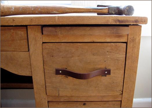 Leather belt drawer handles