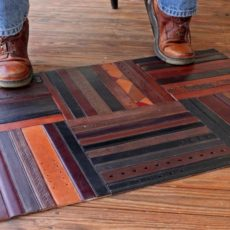 Leather belt floor mat