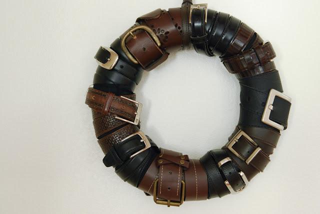 Leather belt wall wreath