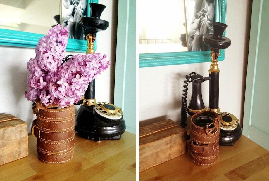 Leather belts flower vase