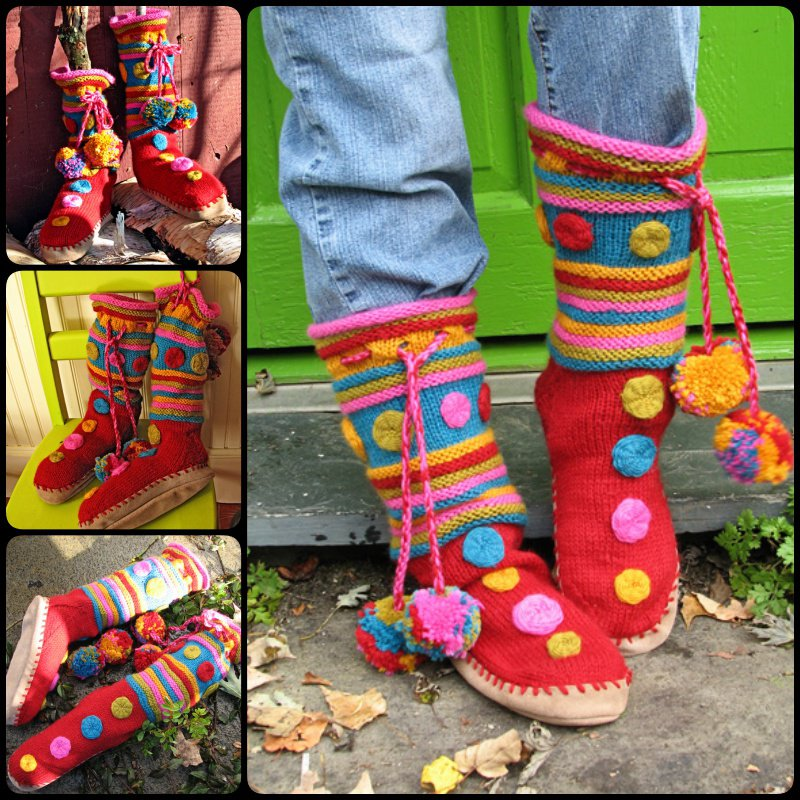Macarons slipper boots