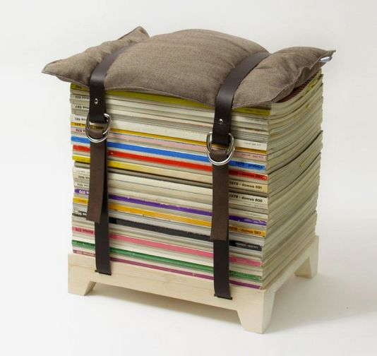 Magazine, belt, and pillow stool