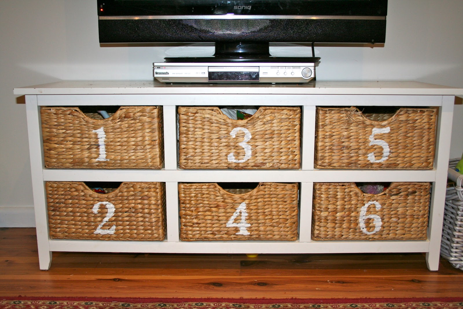 Numbered wicker toy storage