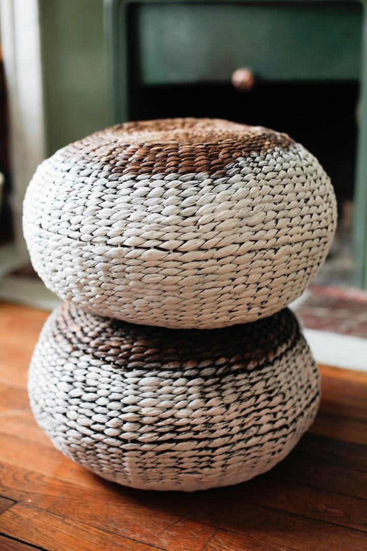 Painted wicker pouf stools