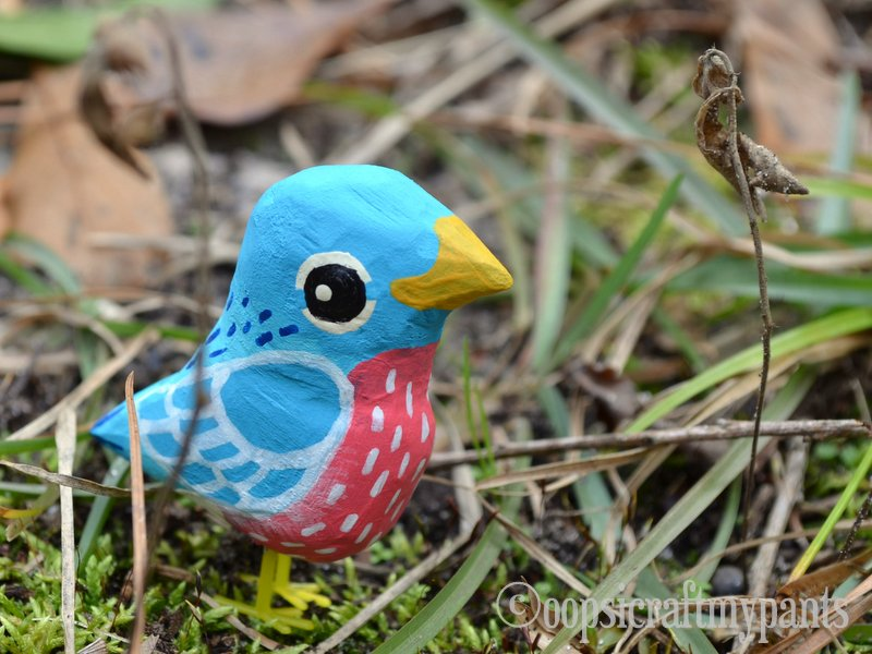 Painted wooden bird