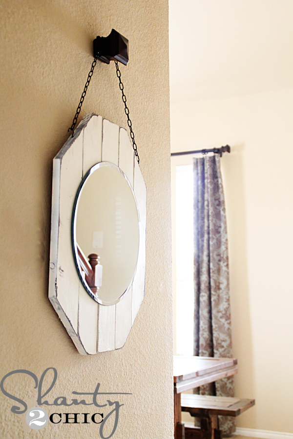 Recycled wood and chain mirror