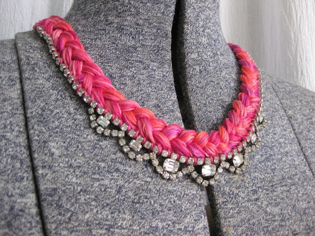 Rhinestone and embroidery braid necklace