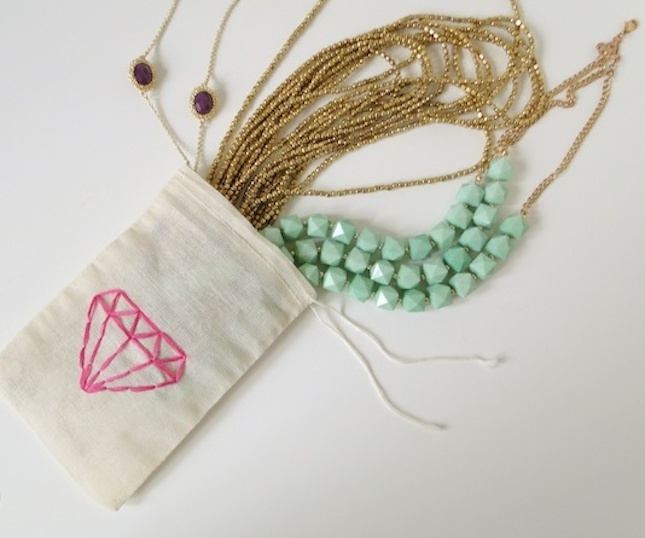 Simple embroidered jewelry bag