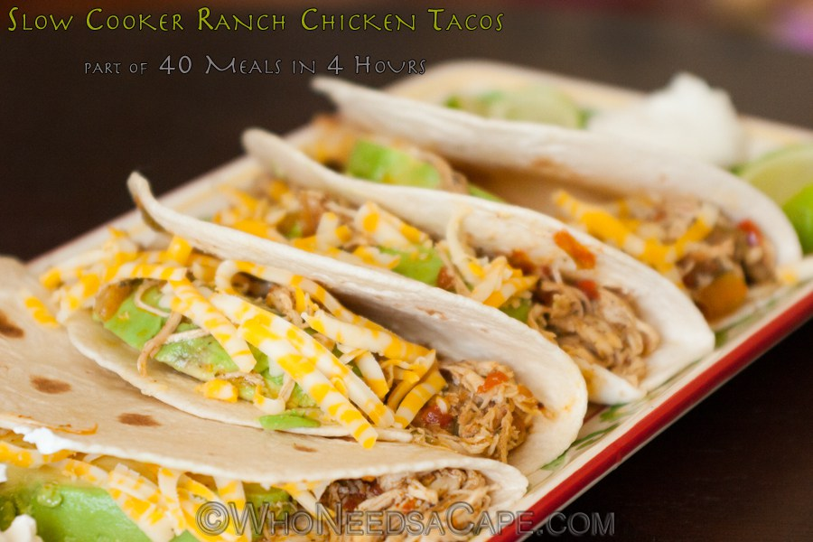 Slowcooker ranch chicken tacos
