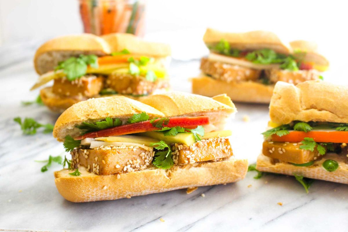 Tofu banh mi sandwiches serve