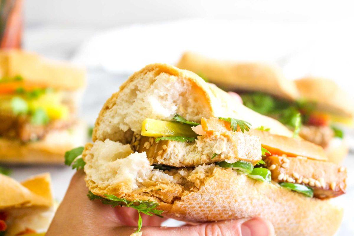 Tofu banh mi sandwiches soggy