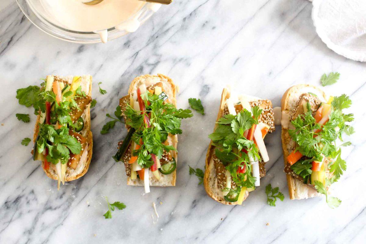 Tofu banh mi sandwiches cilantro