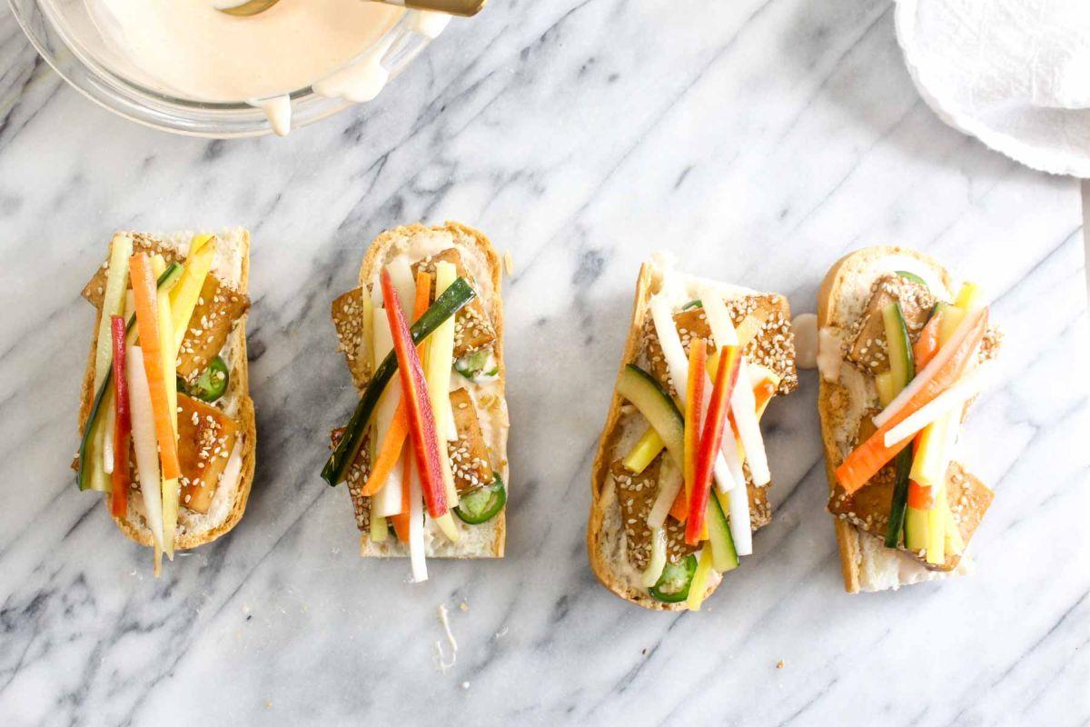 Tofu banh mi sandwiches prepare