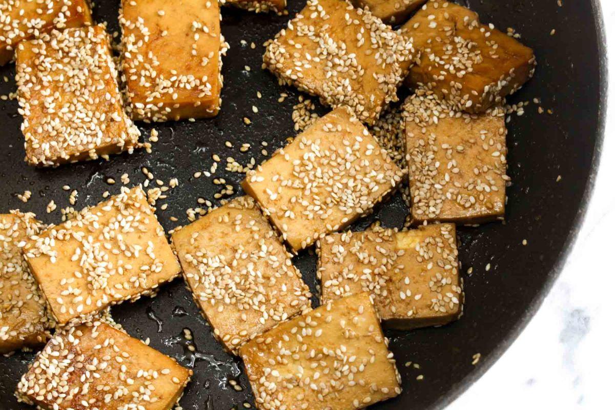 Tofu banh mi sandwiches sesame seeds