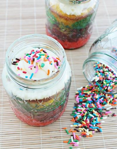 Unicorn magic cake in a jar