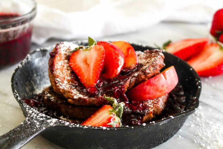 Vegan french toast with triple berry sauce serve