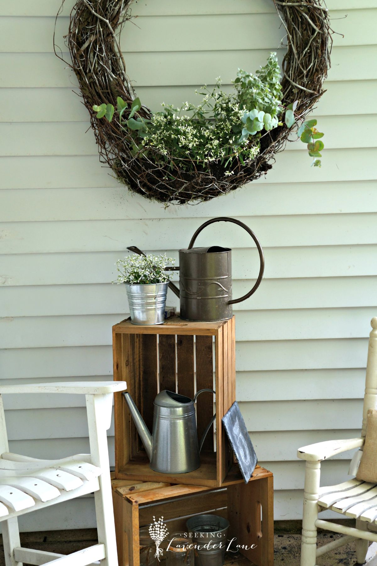 Wicker wreath with plant holder