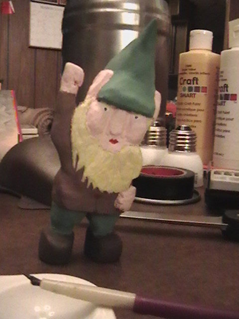 Wooden gnome from salvaged wood