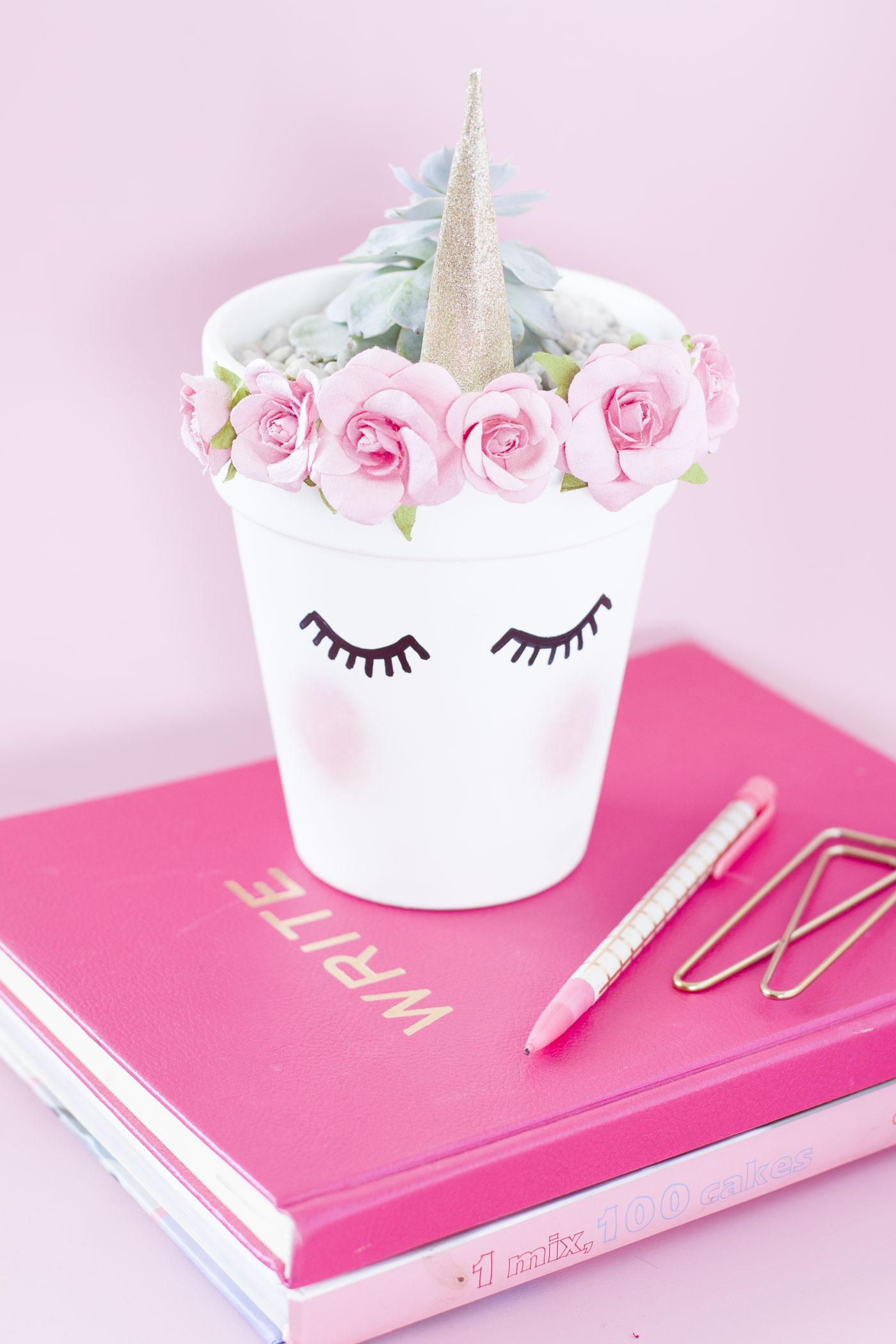 Chic pink unicorn gold planter