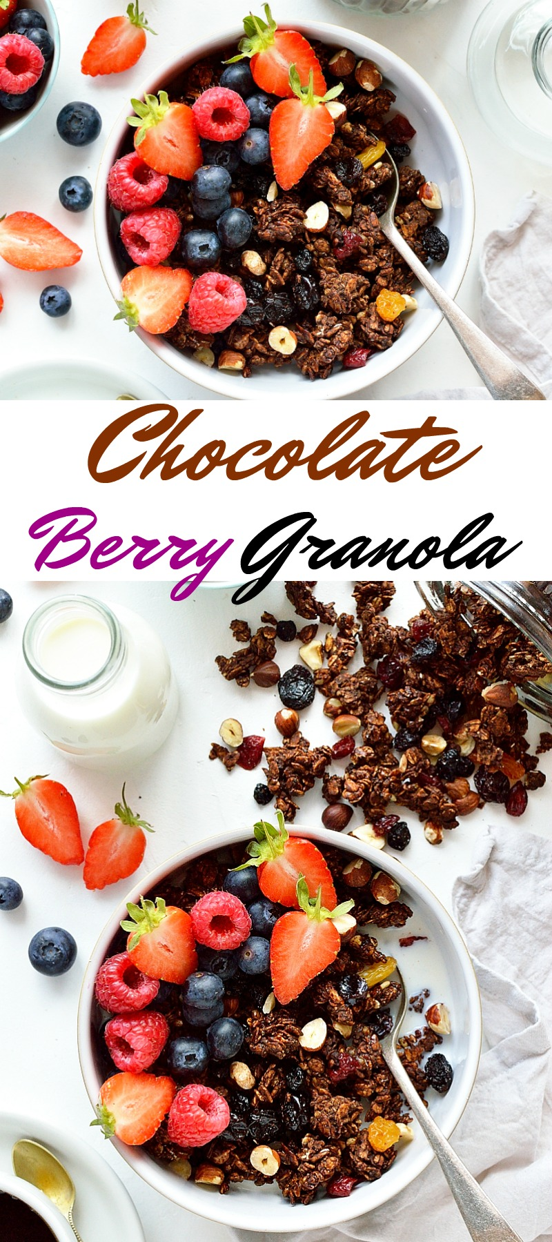 Chocolate berry granola - a healthy breakfast that almost tastes like dessert!