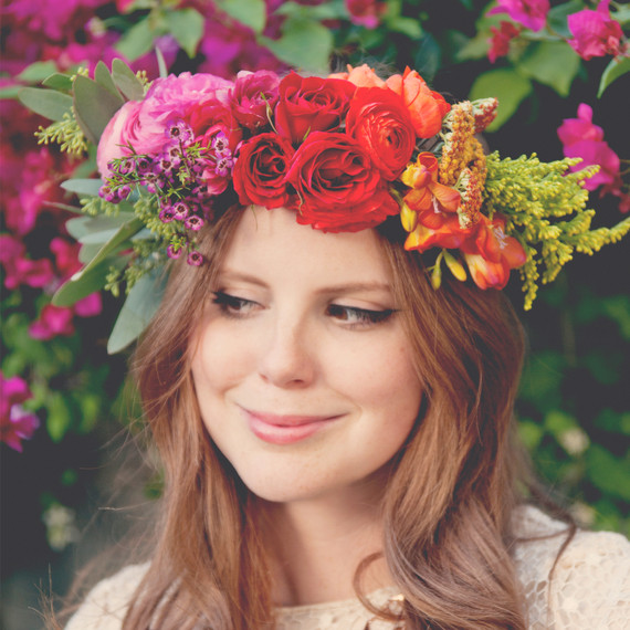 Claire thomas bridal shower boho diy wearing flower crown diy