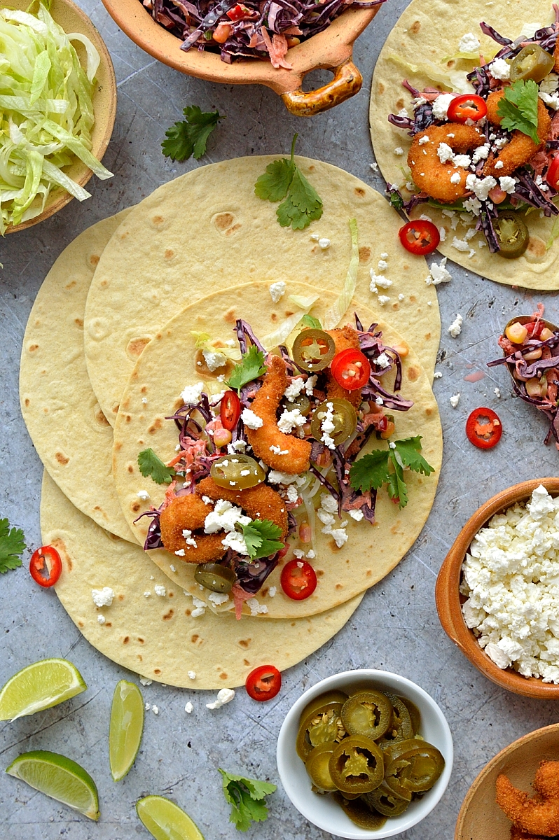 Crispy shrimp tacos with chipotle red cabbage slaw - the ultimate sharing food!