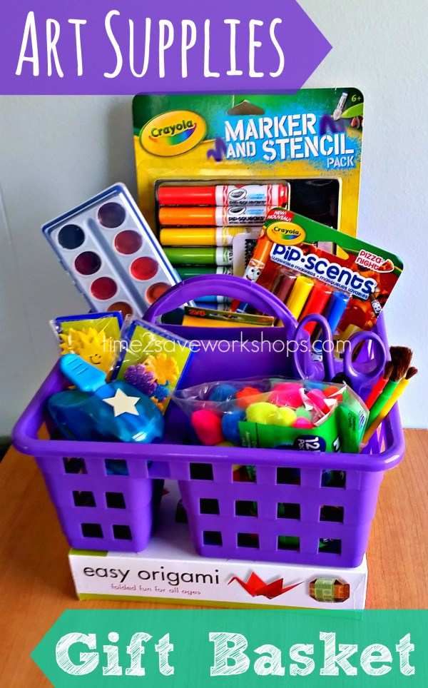 Diy art supplies gift basket