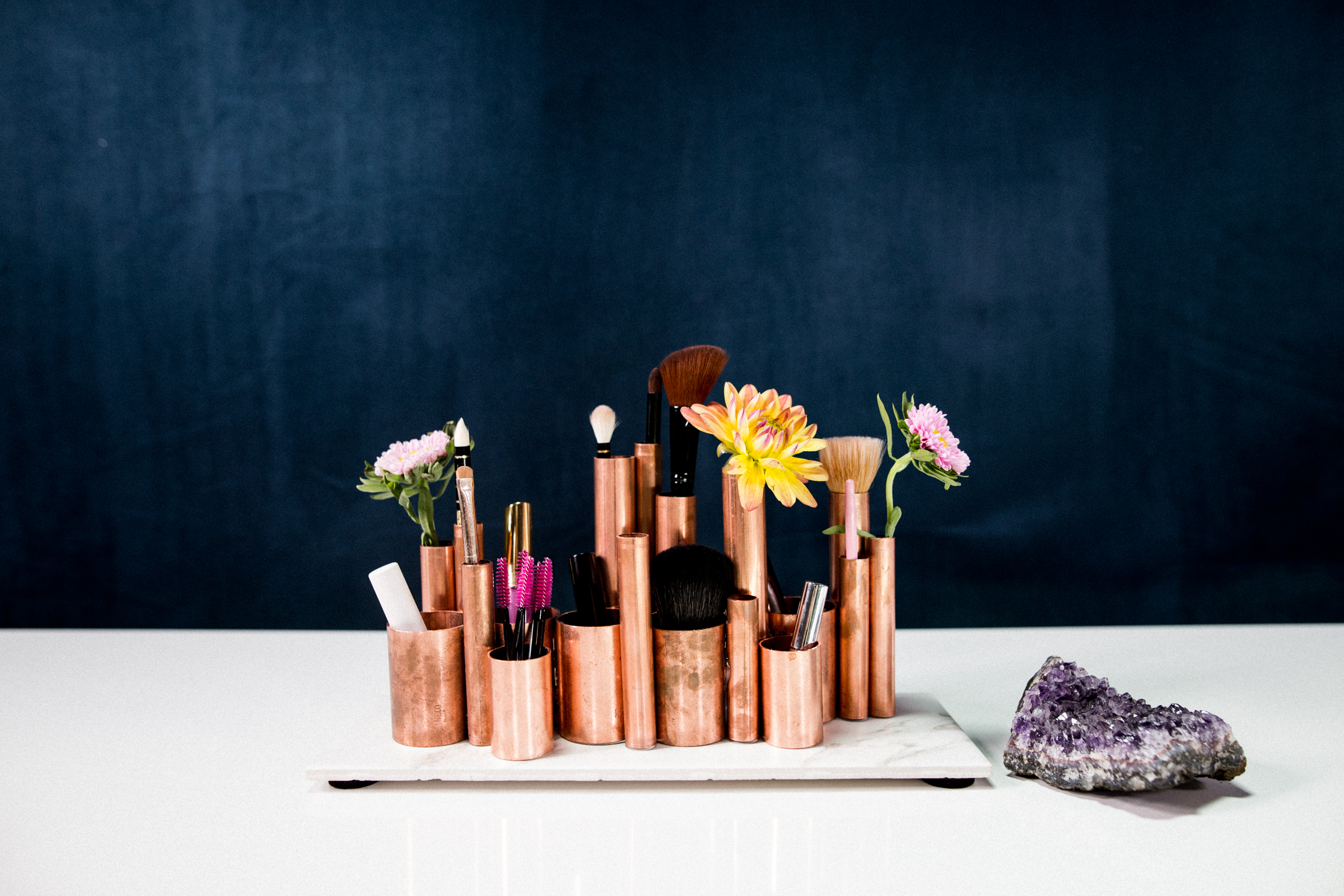 Diy copper pipe makeup brush holder